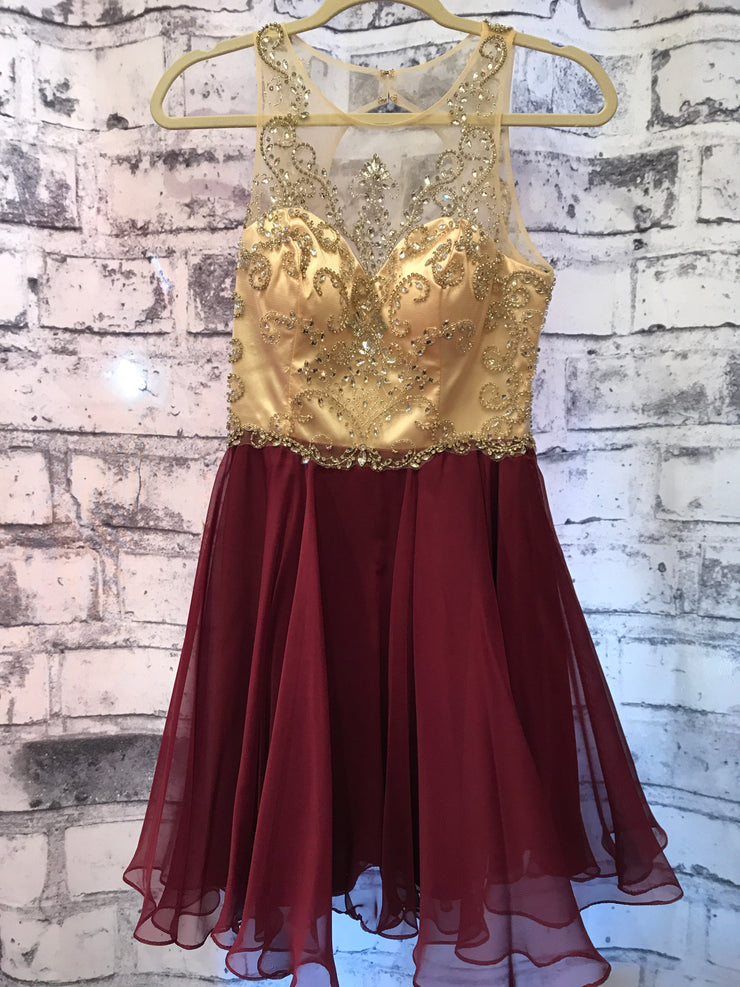 BURGUNDY BEADED SHORT DRESS