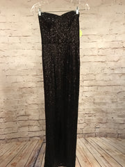 NEW- BLACK LONG EVENING GOWN W/ SLIT