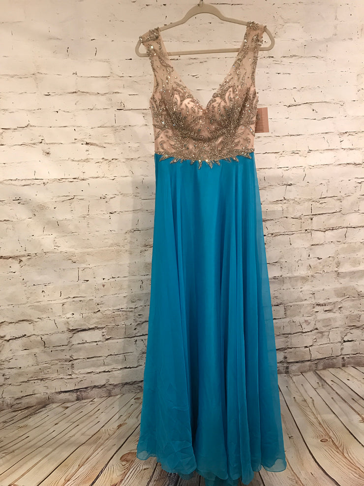 NEW - BLUE MESH/BEADED TOP GOWN