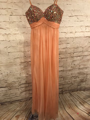 PEACH BEADED TOP LONG GOWN