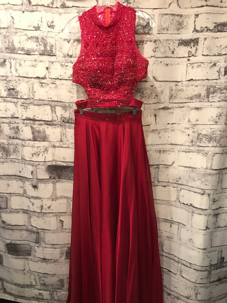 RED 2 PC. EVENING GOWN SET