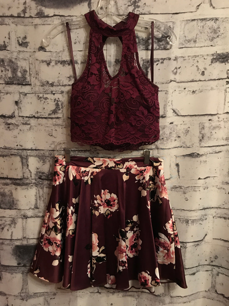 BURGUNDY 2 PIECE SHORT DRESS SET