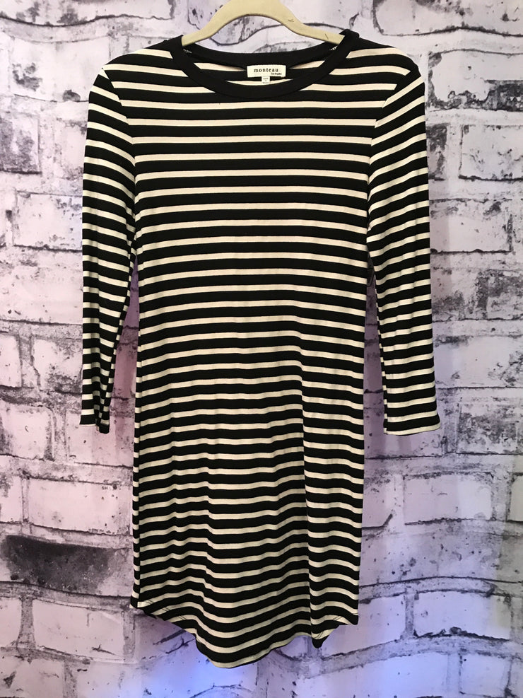 BLACK/WHITE STRIPPED DRESS