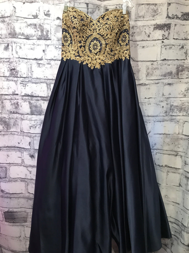 NAVY/GOLD PRINCESS GOWN