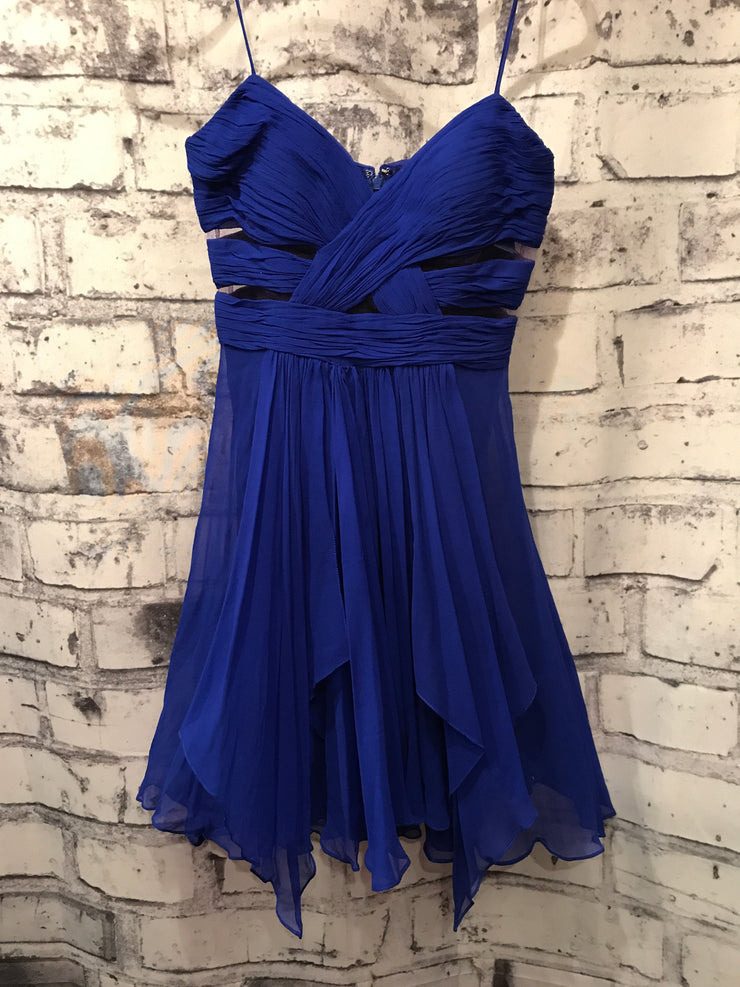 ROYAL BLUE SILK SHORT DRESS