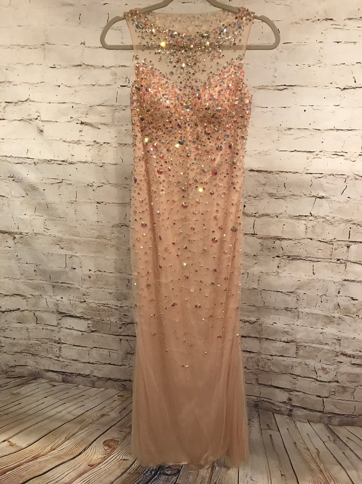 TAN MESH LONG BEADED GOWN