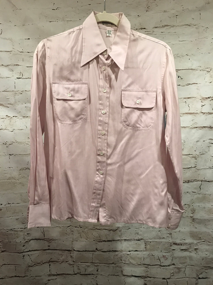 LIGHT PINK SILK BLOUSE $495