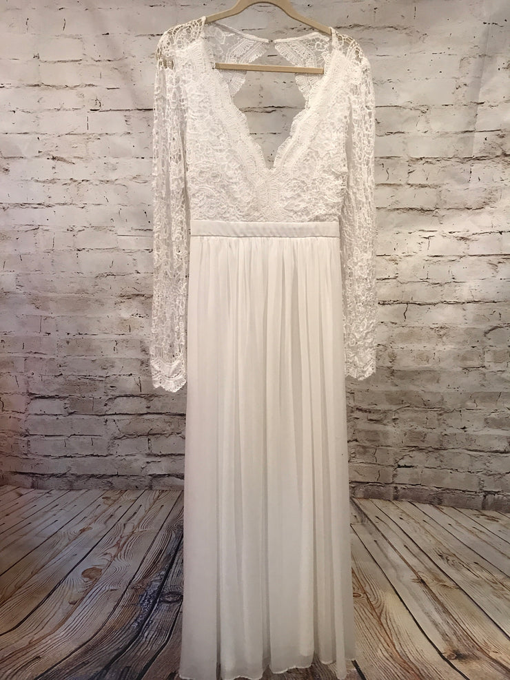 NEW- WHITE LONG EVENING GOWN