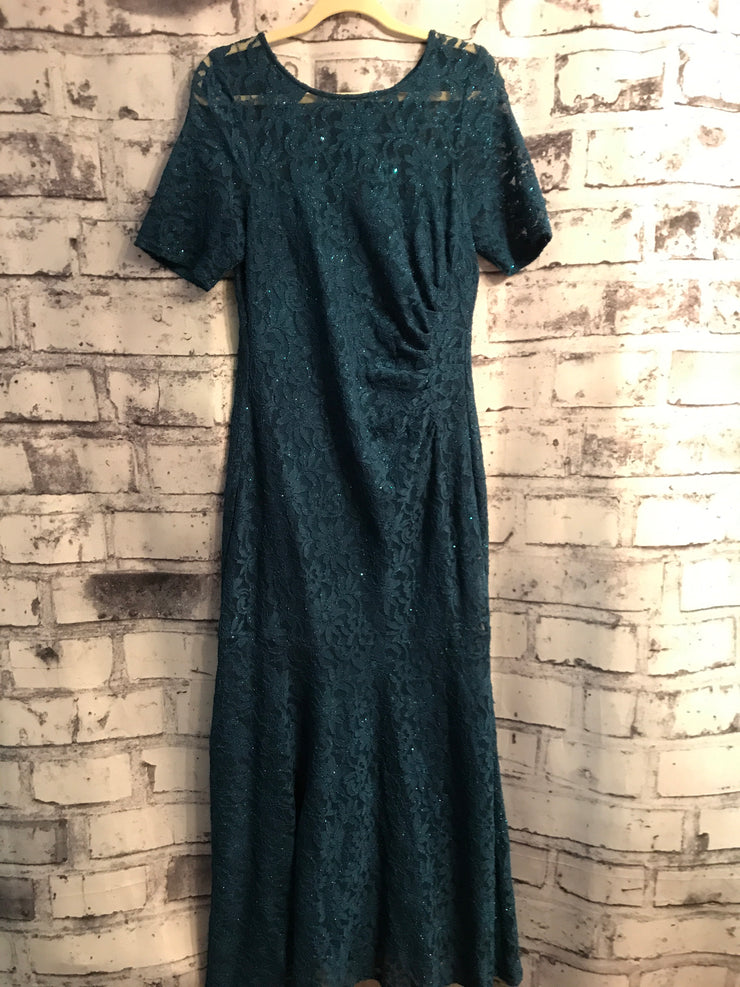 TEAL LACE LONG EVENING GOWN