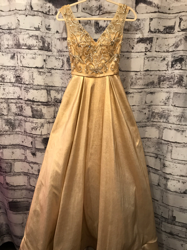 GOLD TAFETTA PRINCESS GOWN W/ POCKETS