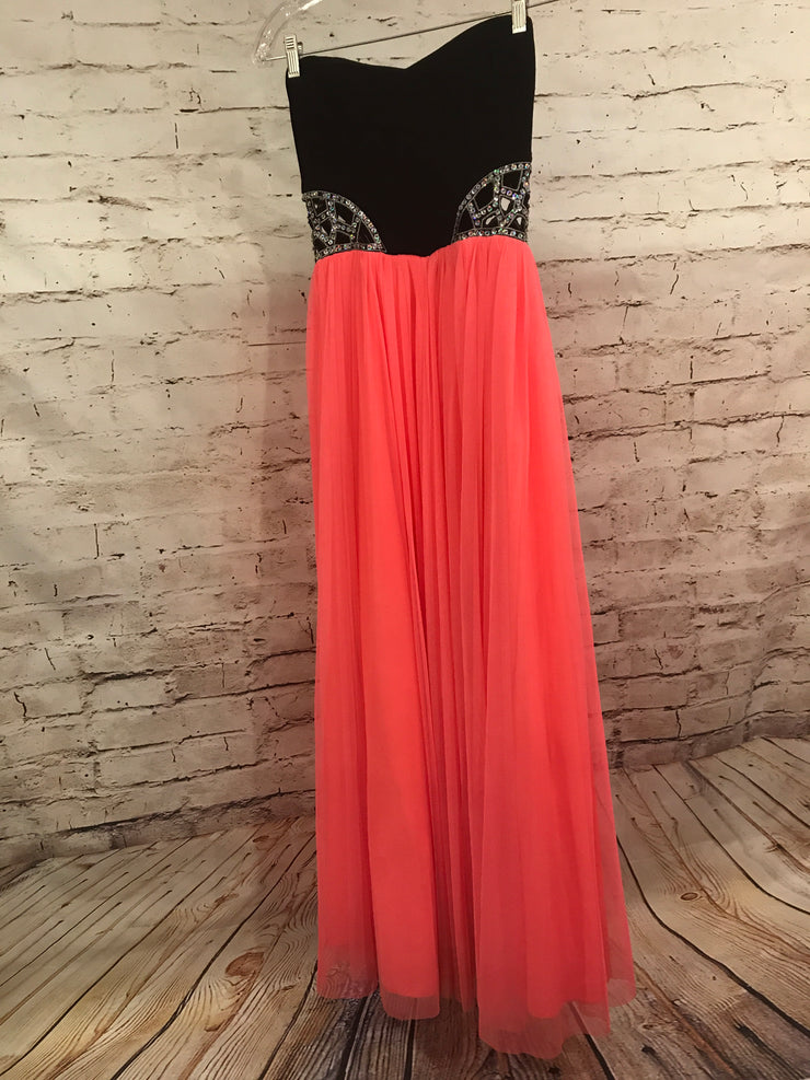 BLACK/PINK A LINE GOWN