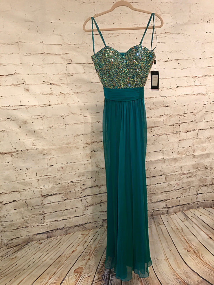 TEAL LONG EVENING GOWN (NEW)