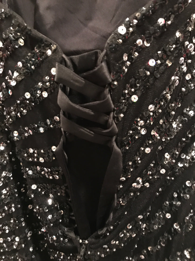 BLACK GEMMED MERMAID GOWN