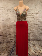 RED BEADED TOP LONG DRESS
