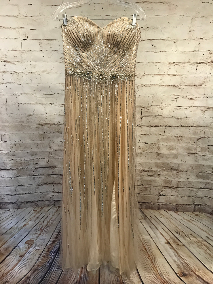 TAN/SILVER EVENING GOWN