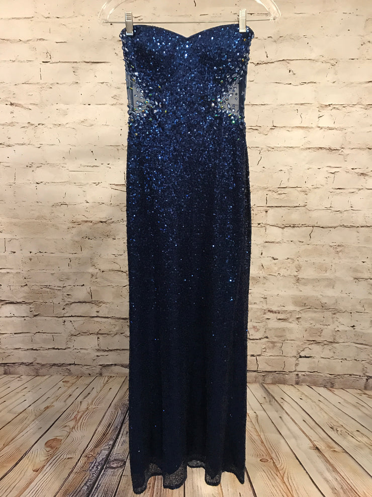 NAVY LONG SEQUIN EVENING GOWN