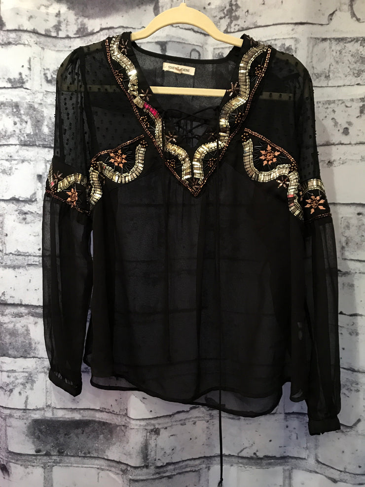 BLACK/GOLD LONG SLEEVE TOP