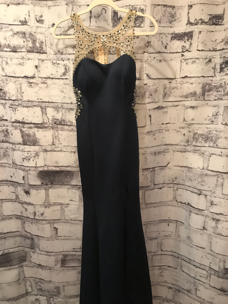 NAVY GEMMED BACK LONG GOWN