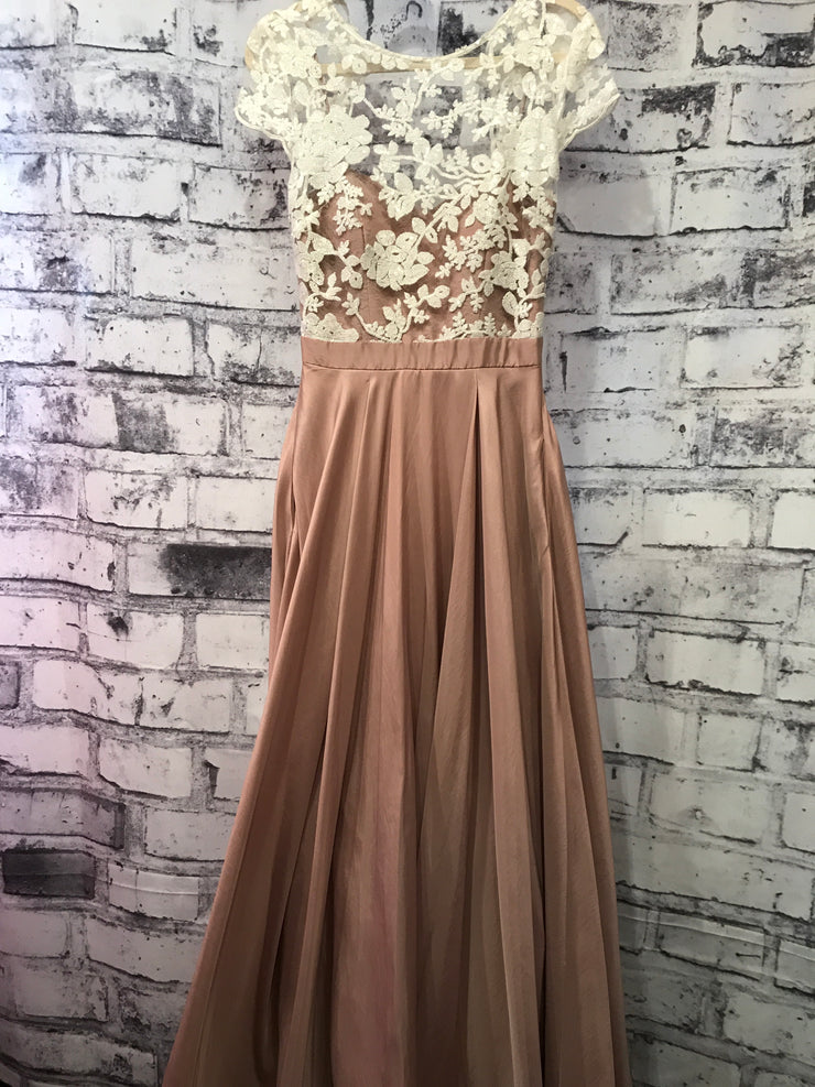 TAN/WHITE LONG GOWN (NEW)