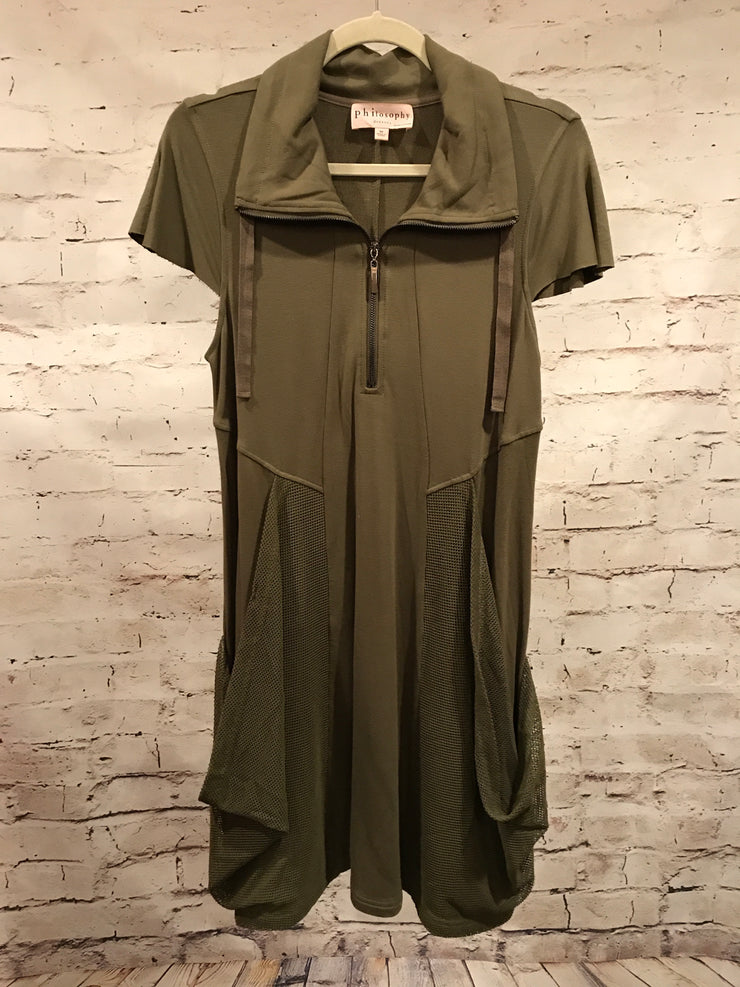 GREEN SHORT SLEEVE SHORT DRESS $89