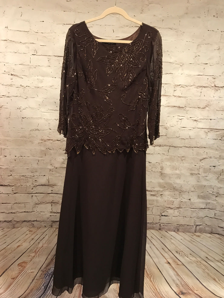 BROWN LONG EVENING GOWN