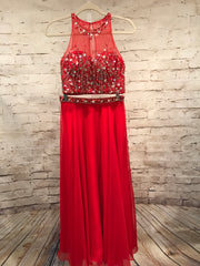 RED 2 PC. LONG GOWN SET