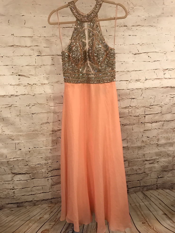PEACH LONG EVENING GOWN * *