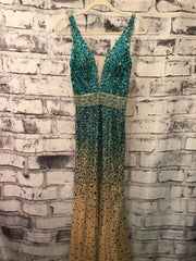 AQUA FULL BEADED GOWN