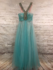 LT. BLUE/PINK STRAP GOWN