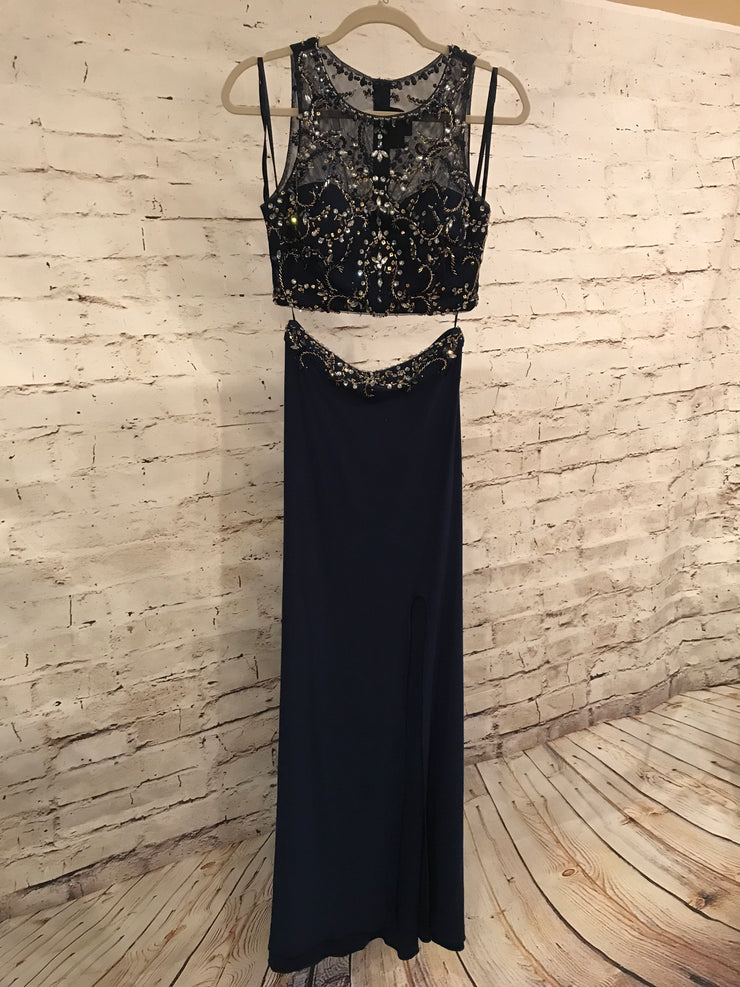 NAVY 2 PIECE LONG EVENING GOWN