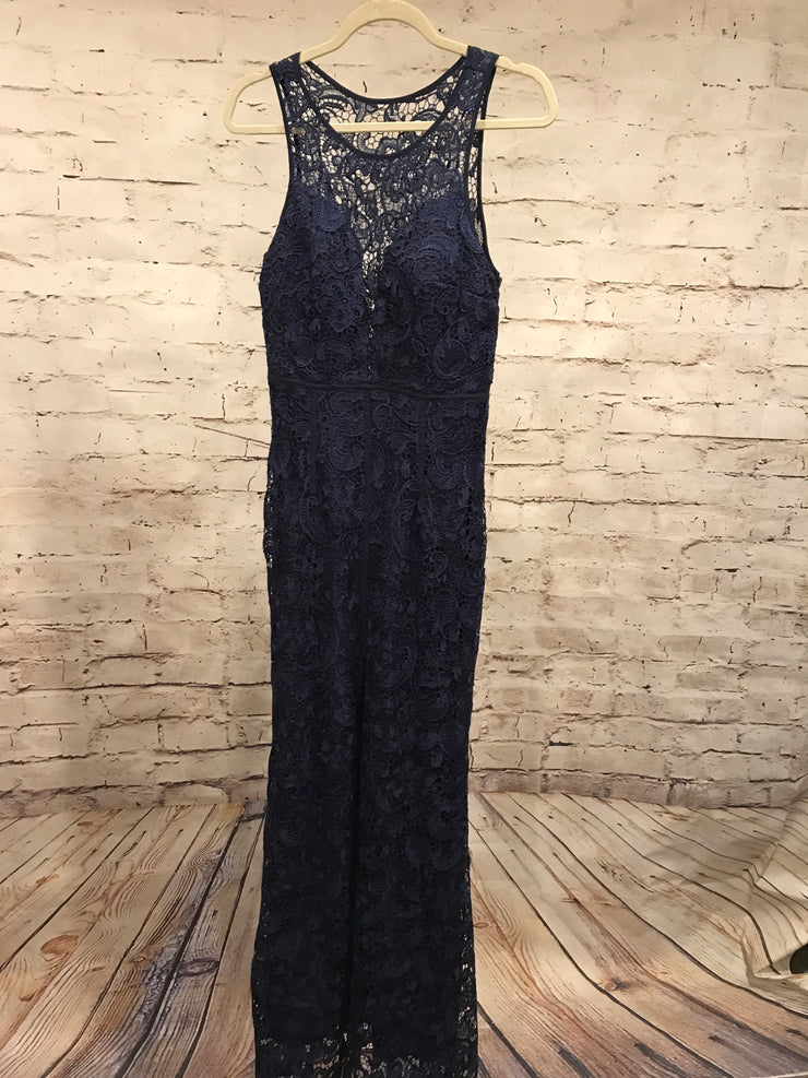 NAVY LACE LONG GOWN (NEW)