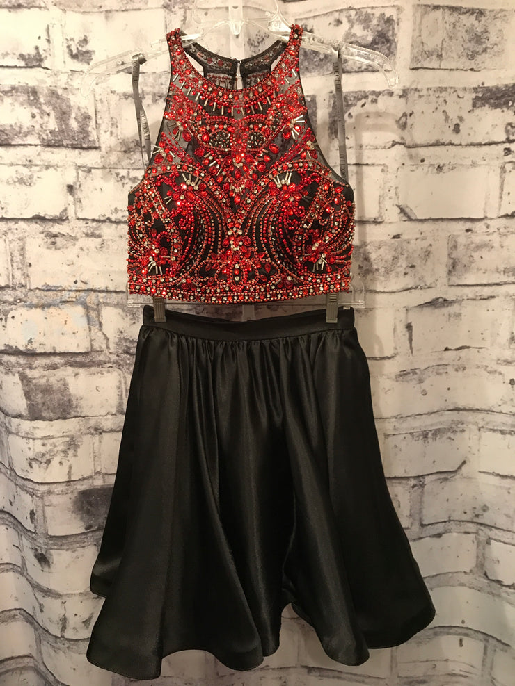 RED/BLACK 2 PC. SHORT DRESS