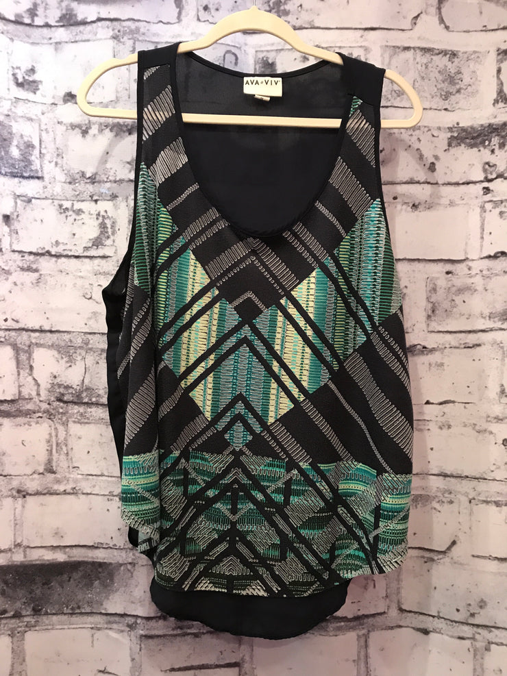 BLACK/COLORFUL SLEEVELESS TOP