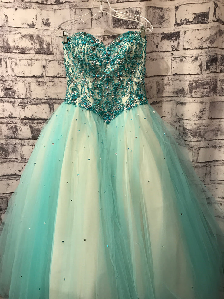 TURQUOISE/IVORY PRINCESS GOWN
