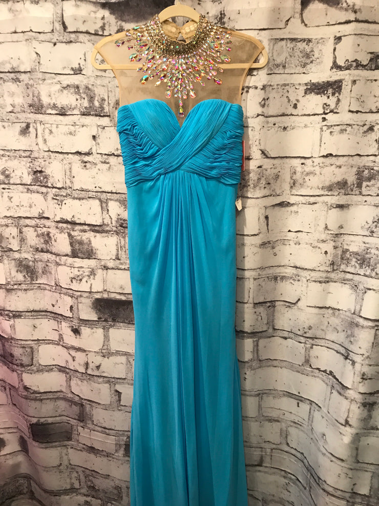 BLUE HIGH NECK MESH LONG GOWN