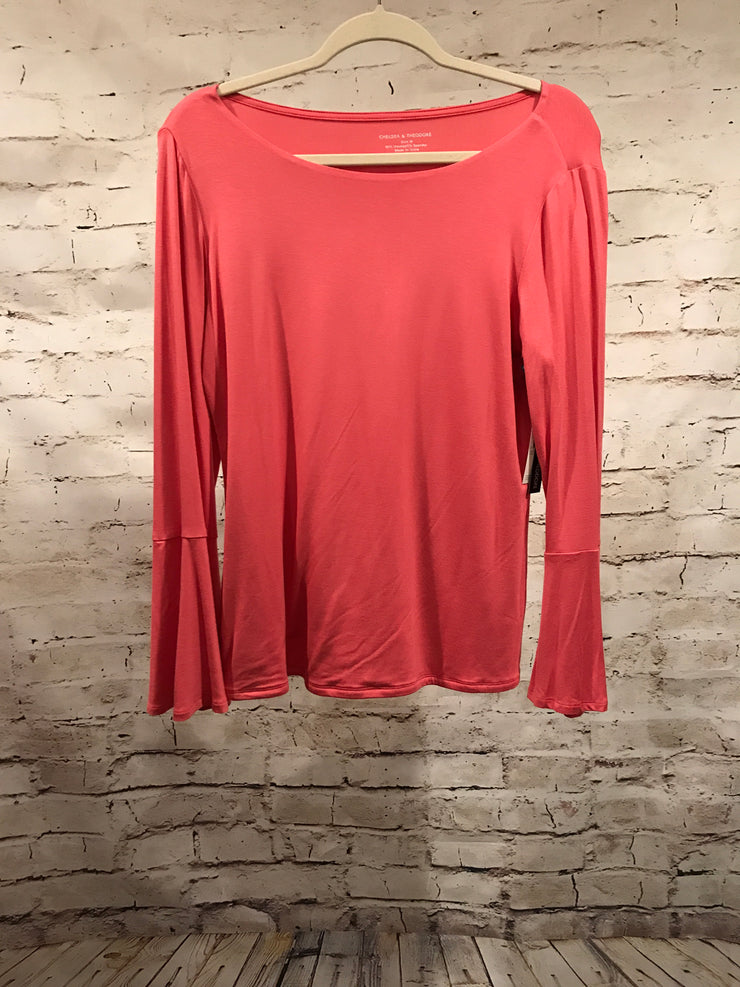 NEW- CORAL LONG SLEEVE TOP $58