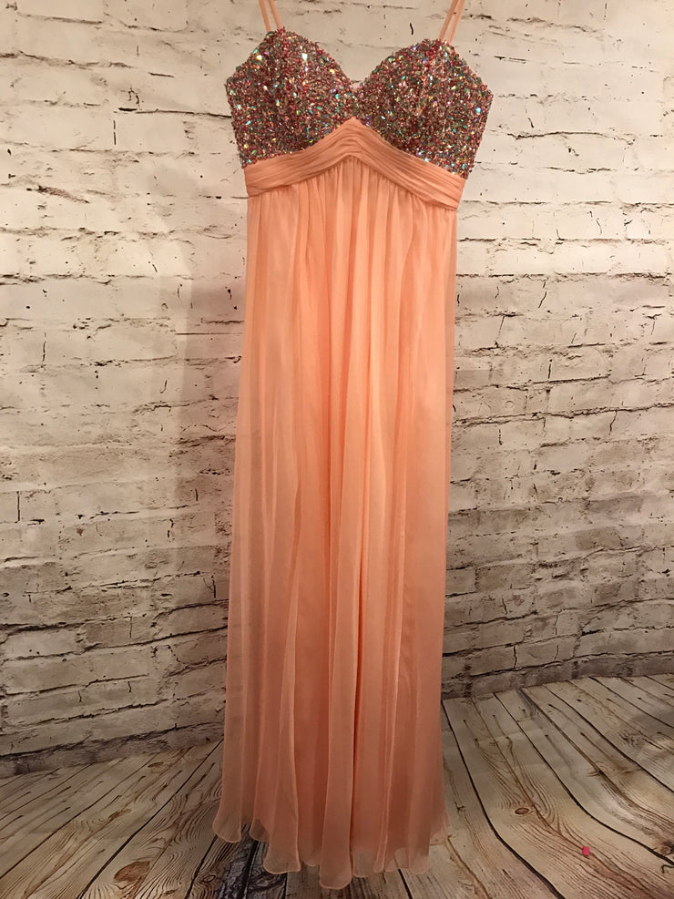 PEACH LONG EVENING GOWN
