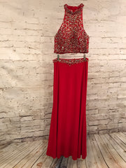 RED 2 PIECE LONG EVENING GOWN