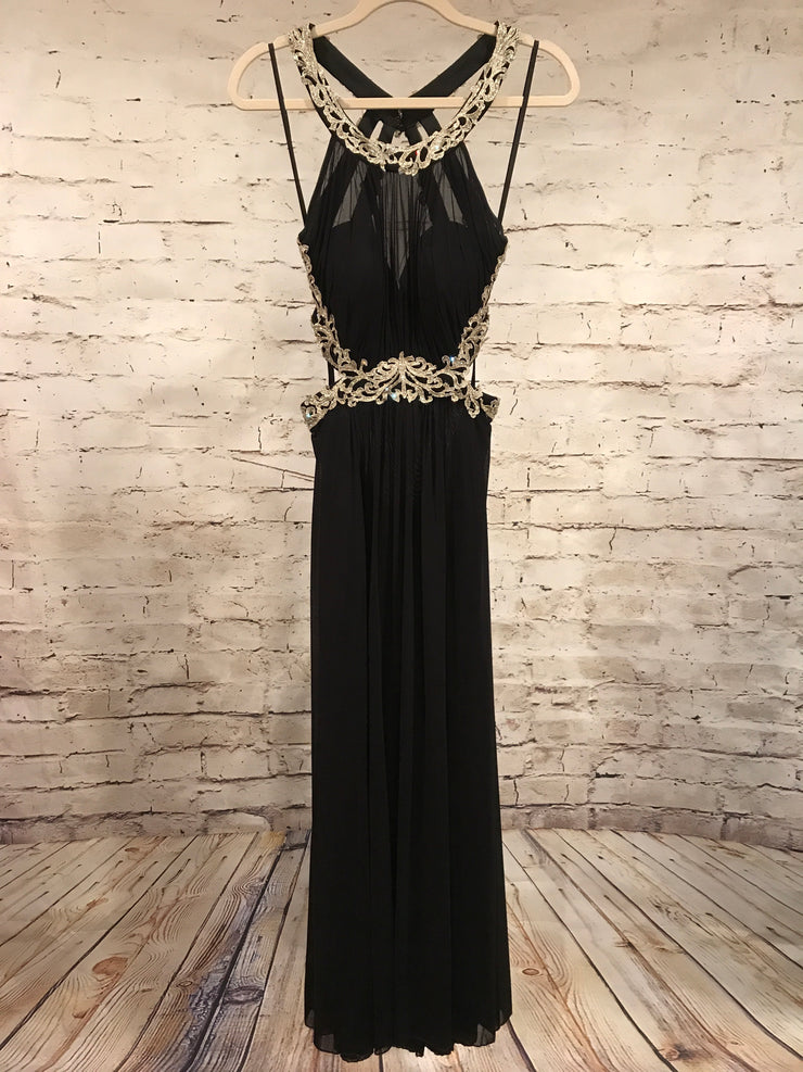 BLACK LONG OPEN BACK DRESS