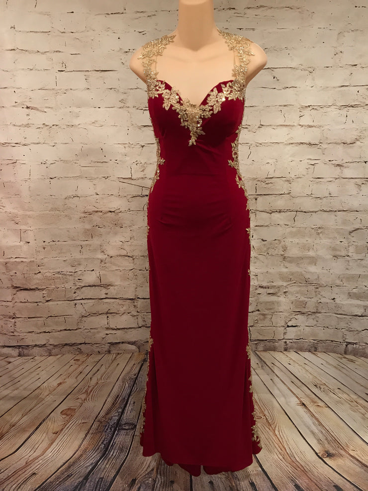 RED/GOLD LONG EVENING GOWN