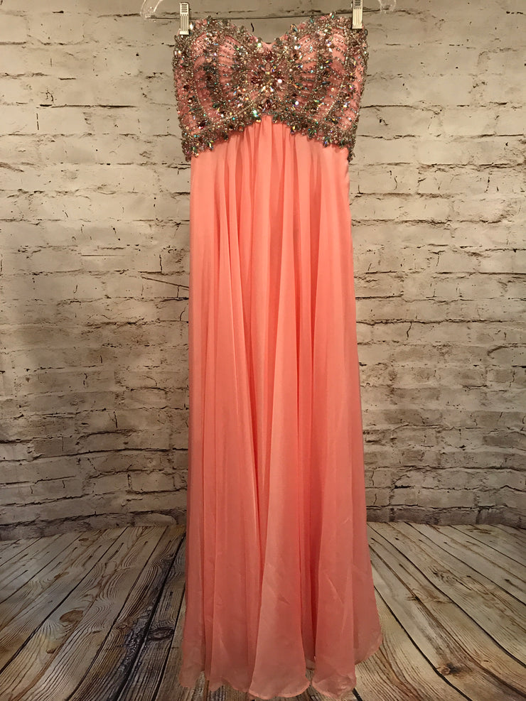 PINK BEADED TOP EVENING GOWN