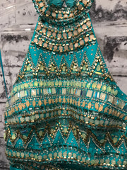 TURQUOISE/GOLD 2 PC. GOWN SET
