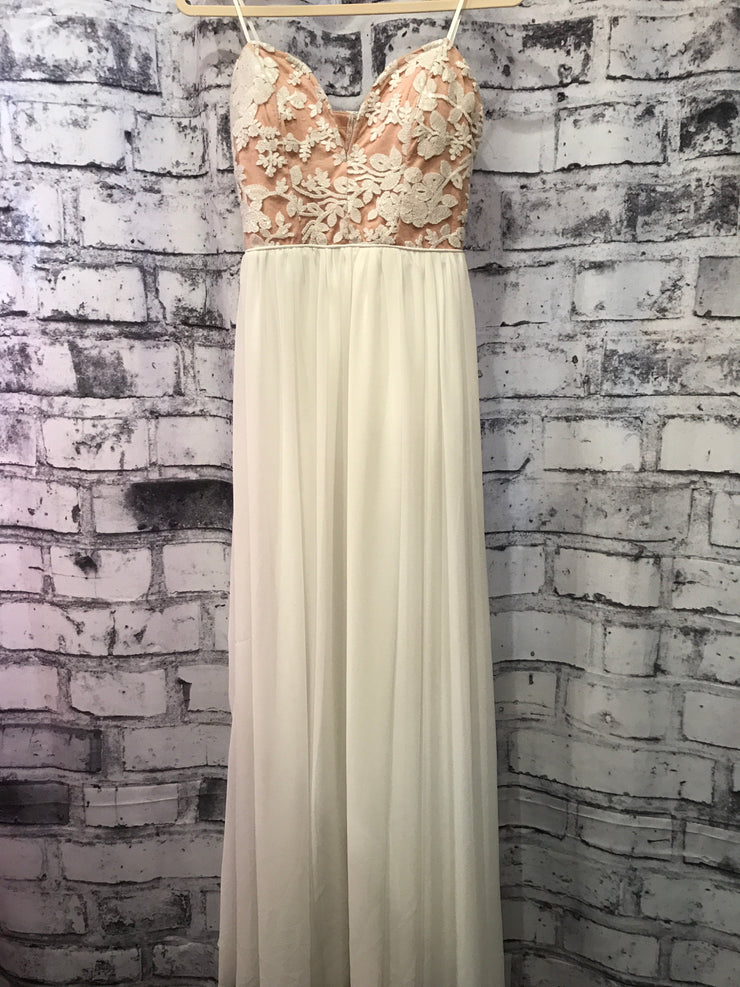 WHITE/PINK LONG GOWN (NEW)
