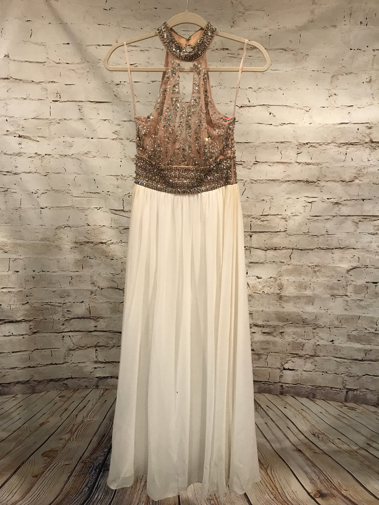 WHITE/TAN LONG EVENING GOWN