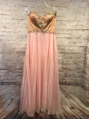 LT. PINK/TAN LONG EVENING GOWN