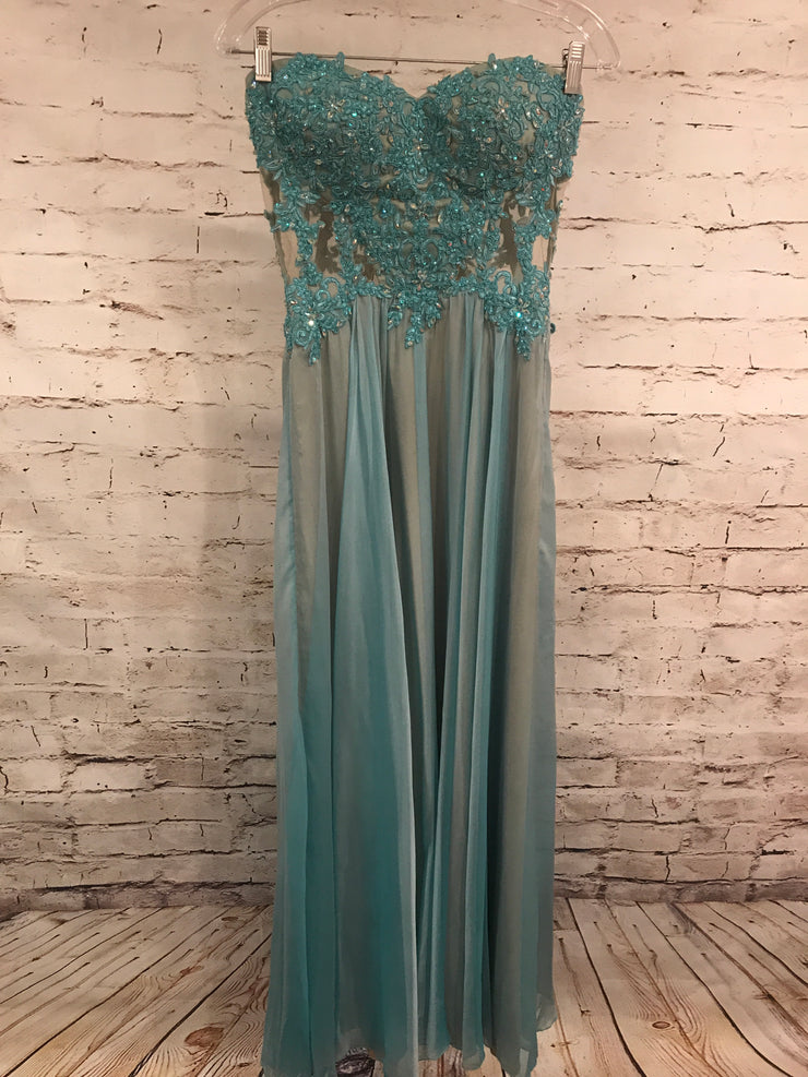 BLUE MESH LONG EVENING GOWN