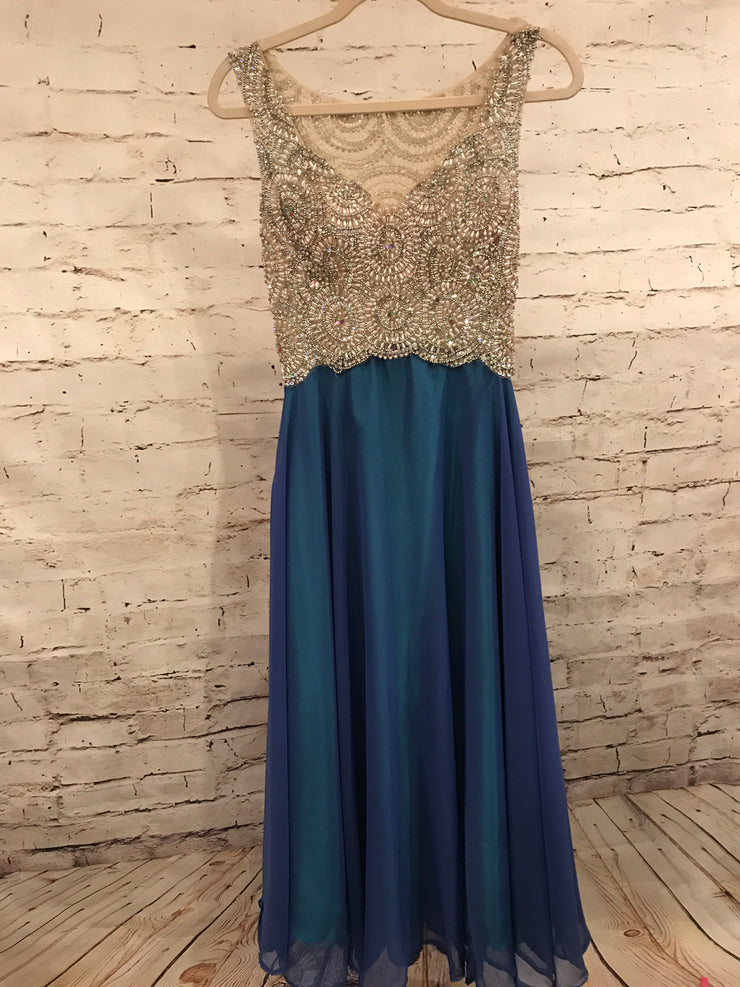 ROYAL BLUE/GREEN LONG GOWN