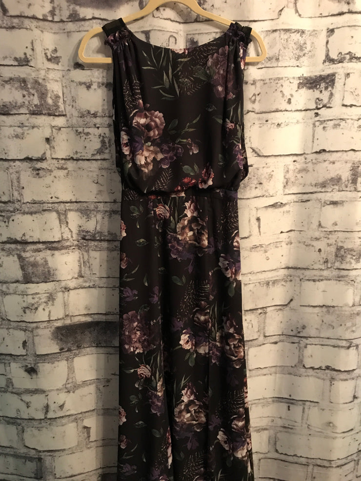 BLACK/FLORAL LONG EVENING GOWN