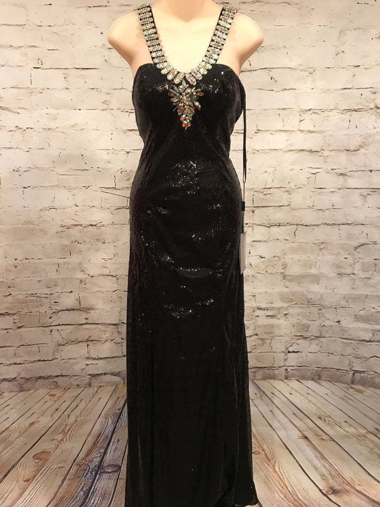 BLACK FULL SEQUIN LONG GOWN (NEW)