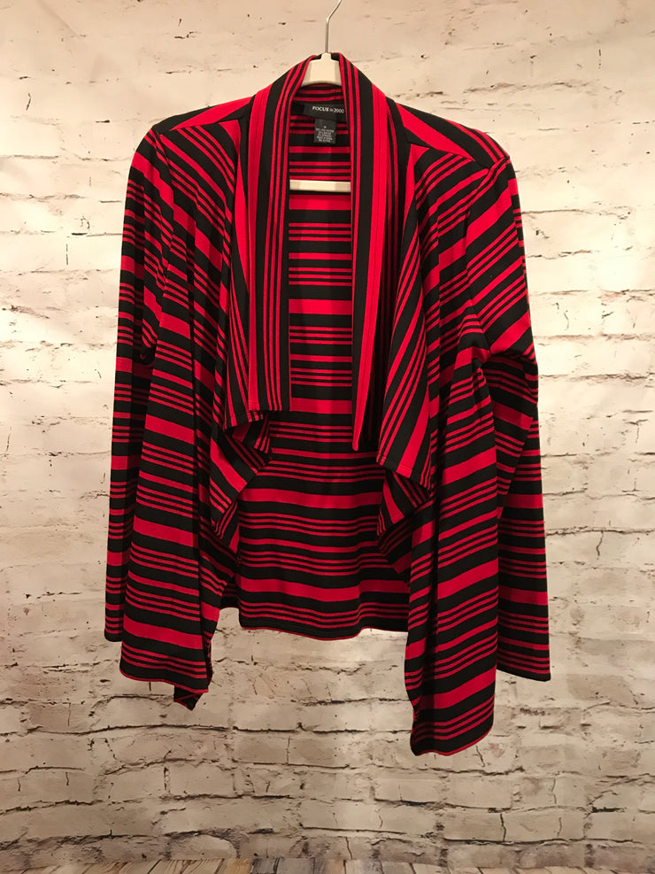 BLACK/RED STRIPED OPEN CARDIGAN